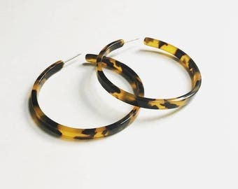 Flat Edge Tortoise Hoop Earrings / Tortoise Shell Hoops