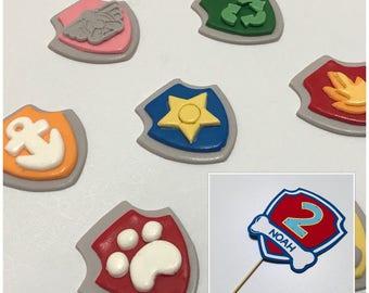 14x Edible Paw Patrol cupcake toppers + Cardstock cake topper