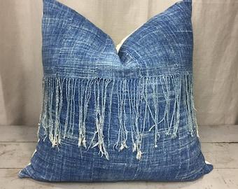 Vintage Indigo African Mudcloth Pillow Cover, Boho Pillows, Indigo Pillows, Fringe Pillow Cover, Mud Cloth Pillows, Boho Decor, Shibori