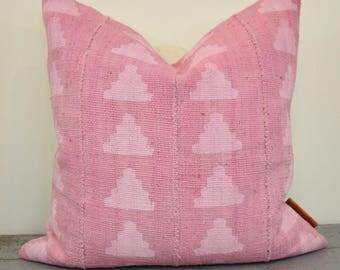 Pink Mudcloth Pillow Cover, Boho Pillow, Boho Decor, African Mudcloth, Blush Pillow, Throw Pillow, 18x18