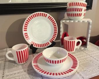 Vintage Hazel Atlas red stripe dish set, 2 cups, 3 dinner plates, 4 cereal bowls, rare