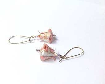 Lotus origami, origami jewelry origami lotus buttons, sleepers origami flower earrings