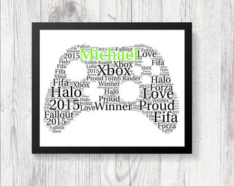 Personalised Xbox One Controller Word Art Print Gift Keepsake Birthday Christmas Daughter Son Gamer Halo