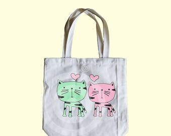 Cat tote bag 13x13x3 inches - Shopping tote bag - School tote bag