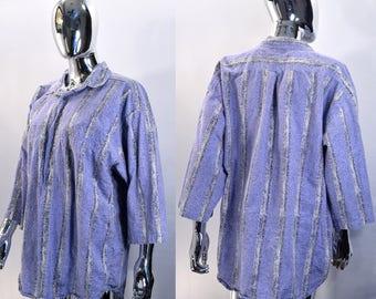 80s / 90s Button Down Shirt. Men's Size XL, Urban Works, Light Purple, White & Black Vertical Stripes. Totally Rad Vintage Retro Top 1980s