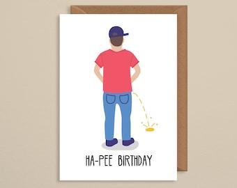 Happy birthday card boyfriend. pee. funny pee birthday card. for him. brother. dad. husband. gift. present. rude birthday. naughty birthday