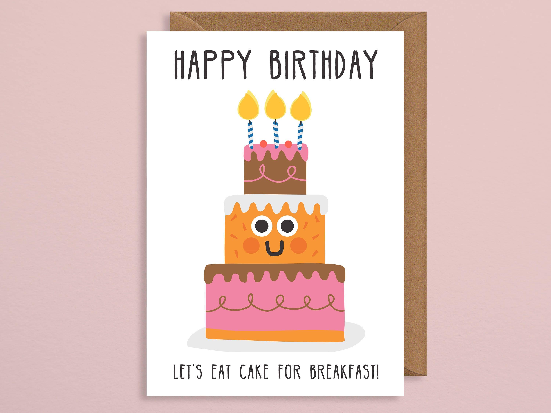 Funny birthday card cake greetings card happy birthday