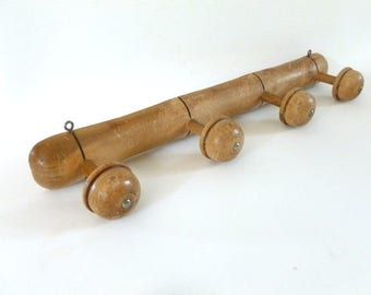 French Vintage Wooden Coat Rack, Faux Bamboo Coat rack, French Rustic Home Decor