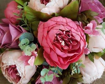 Wedding Bouquet, Roses, Peonies, Wedding Flowers, Bridal, Artificial Flowers, Silk Flowers, Weddings