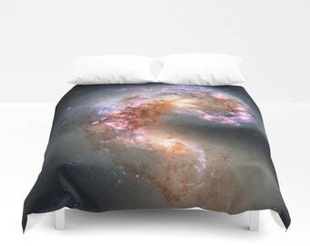 Galaxy Duvet Cover, Galaxy Bedding Cover, Outer Space Bedroom Decor, Antennae Galaxies, Home Decor, King, Queen, Full