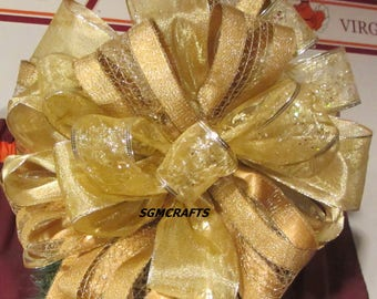 Gold Wired Ribbon Christmas Tree Topper Bow Gold Holiday Tree Topper Bow Gold Yule Tree Topper Bow Anniversary Bow Christmas Tree Topper Bow