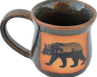 14 Oz. Mug in Mountain Scene Bear Design and Seamist Glaze