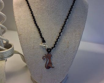 Tatted Necklace with Cat Pendant