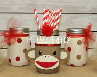 Original Inspired Design Set of 3 Sock Monkey Mason Jar Centerpieces,Monkey Mason Jar,Monkey Party,Little Monkey Baby Shower,Sock Monkey