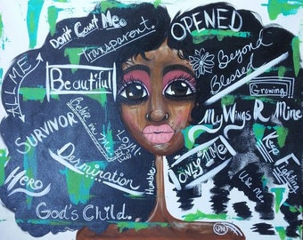 Afro Art/African American Women/ Bits of Me/ Mix Media/Therapy Painting