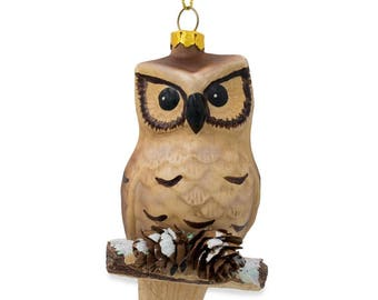 "4.25"" Owl on Branch with Pine Cones Glass Christmas Ornament"