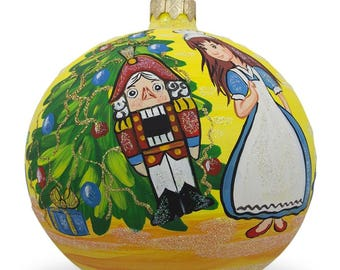"4"" Nutcracker and Marie by Christmas Tree Glass Ball Christmas Ornament"
