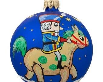 "3.25"" Nutcracker Riding Horse Glass Ball Christmas Ornament"