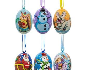 "3"" Set of 6 Santa, Snowman, Bunny, Squirrel and Girl Wooden Christmas Ornaments"