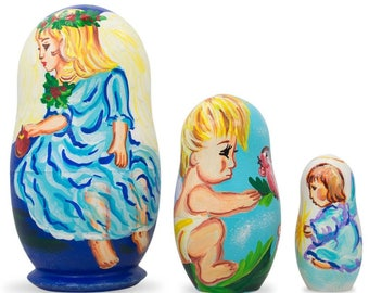 "4.25"" Set of 3 Baby Angels Wooden Nesting Dolls"