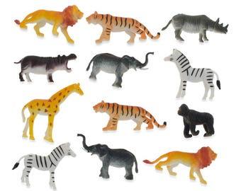 "2""  Set of 12 Plastic Jungle Animals"
