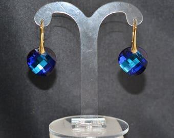 Earrings silver 925 gilded and Twist crystal of Swarovski bermuda blue