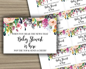 CUSTOM - Floral Baby Shower - Mini Champagne Labels - PRINTABLE - Popping - About To Pop - Shabby Chic - Labels - 075
