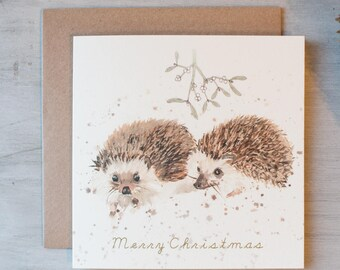 Mr & Mrs Hedgehog Christmas card