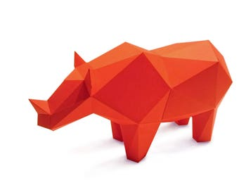 Red Rhino 3D puzzle paper DIY kit home decoration, folding pets