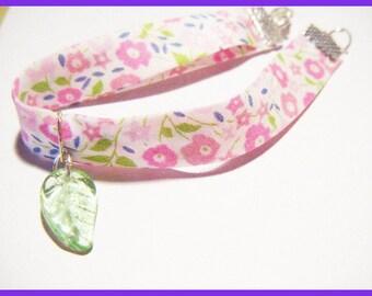 Liberty Bracelet ♥ pink flower and leaf green charm ♥