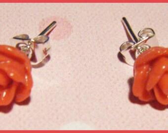 ♥ chip Flower Earrings in red resin rose ♥