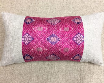Chinese Minority Pink Silk and Cotton Pillow Cover, Vintage Zhuang Wedding Blanket & Cotton Cloth, New Linen Back