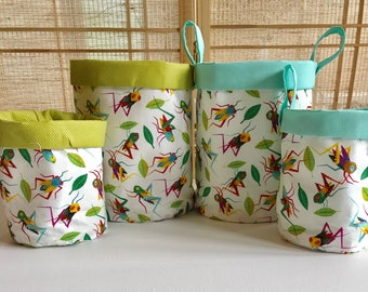 Fabric bucket , fabric basket , cricket decor , fabric organizer
