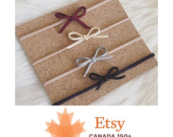 EtsyCA150+ SALE! Set of four nylon baby headbands - suede lace - genuine - burgundy, beige,grey, black -one size fits all - small bows