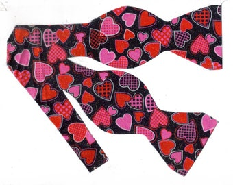 decorated hearts self tie bow tie valentines day bow ties valentine hearts - Valentine Ties