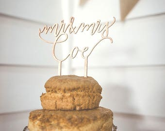 Personalised Mr and Mrs Cake Topper - Custom Mr and Mrs Cake Topper - Wedding Cake Topper - Calligraphy Cake Topper