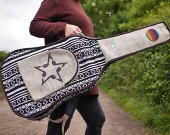 Hemp Acoustic Guitar Case Unique Musical Note Star Gig Bag Natural Monochrome Rainbow