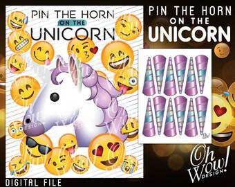 Pin the Horn on the Unicorn Emoji: Digital File