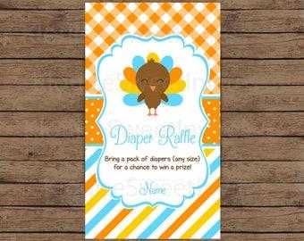 Printable Blue and Orange Fall Thanksgiving Turkey Baby Shower Diaper Raffle, JPEG 300DPI, 3.5x2 inches