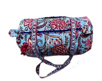 India Block Printed Banjara Handbag in Sky Color