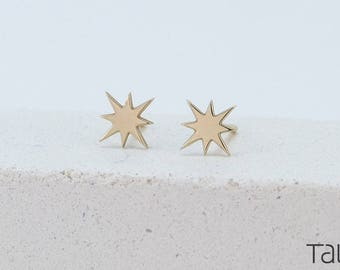 Gold Star Earrings, Star Gold Earrings, Gold Stud Earrings, Dainty Jewelry, Solid Gold Star, Romantic Gift, Gold Star Jewelry, 14 karat gold