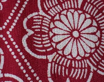 Kimono Silk Fabric, Vintage Japanese Tango Chirimen Silk w/ Katazome Stencilled Florals,  Reddish Maroon Japanese Fabric, 80 cm, Ships Free