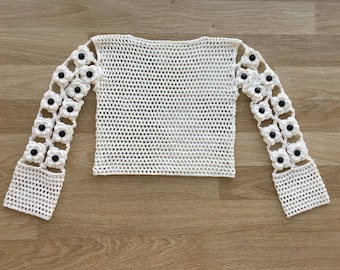 Cotton crochet shirt,womens clothing