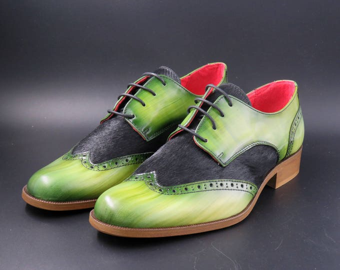 Featured listing image: Leather women shoes w/ Leather matching bag | Green and black