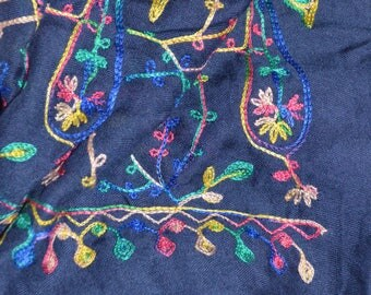 Navy Embroidered Scarf