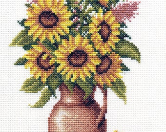 Counted Cross Stitch Kit Sunflower Bunch