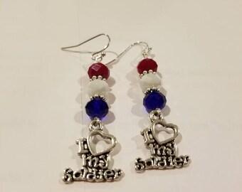 Love my soldier earrings 2