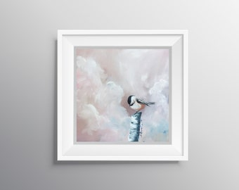 Chicks with Sticks Two - Physical Print of Chickadee Bird on Branch Painting (Multiple Sizes)