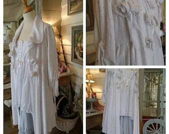 "COAT ELEANOR white ""broderie anglaise"" Gothic romantic, hippie, Gypsy, shabby chic."