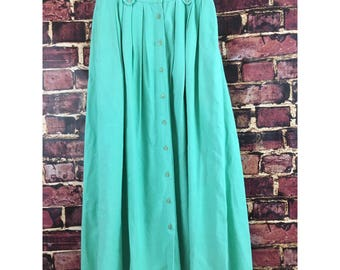 Vtg 80s charter club Turquoise pleated button front ankle length full modest skirt